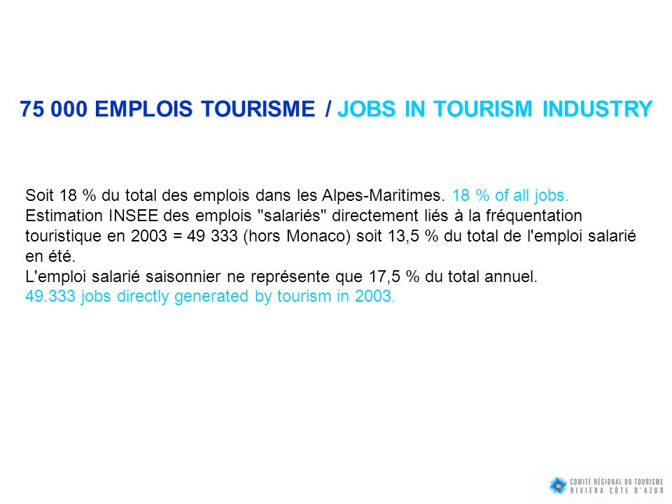 75 000 EMPLOIS TOURISME / JOBS IN TOURISM INDUSTRY