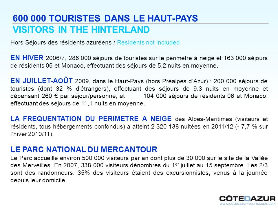600 000 TOURISTES DANS LE HAUT-PAYS VISITORS IN THE HINTERLAND