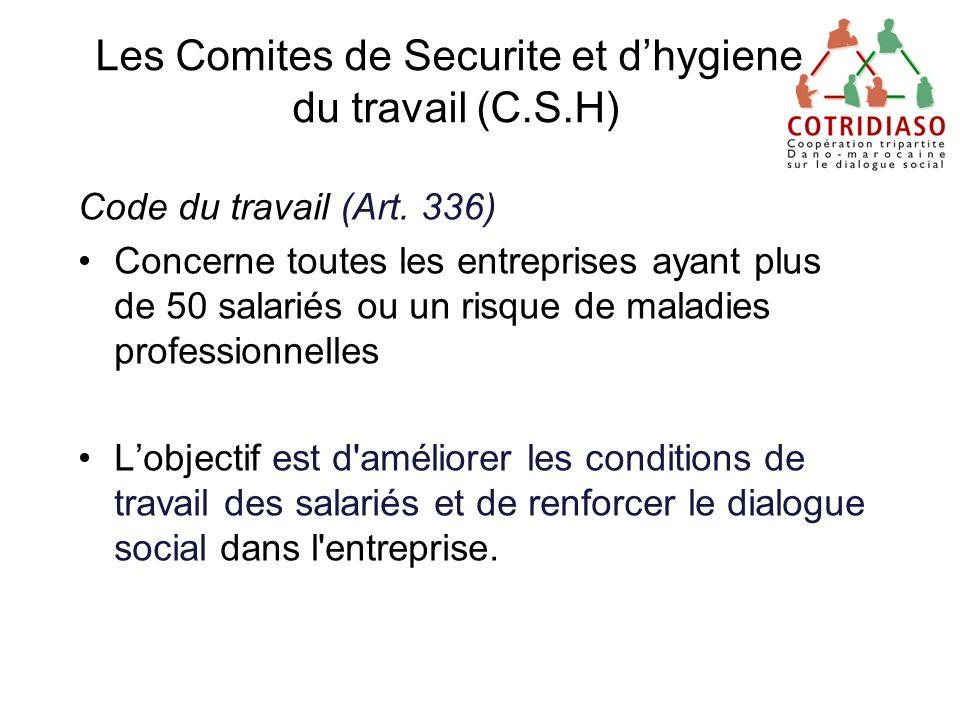 Les Comites de Securite et d'hygiene du travail (C.S.H)