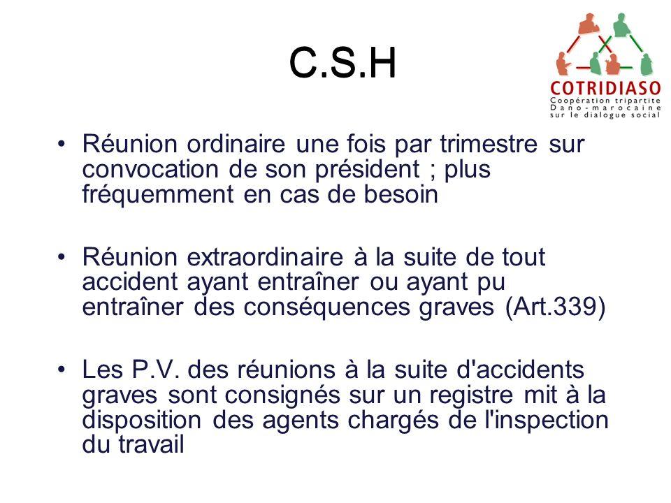 C.S.H C.S.H. Réunion ordinaire une fois par trimestre sur convocation de son président ; plus fréquemment en cas de besoin.