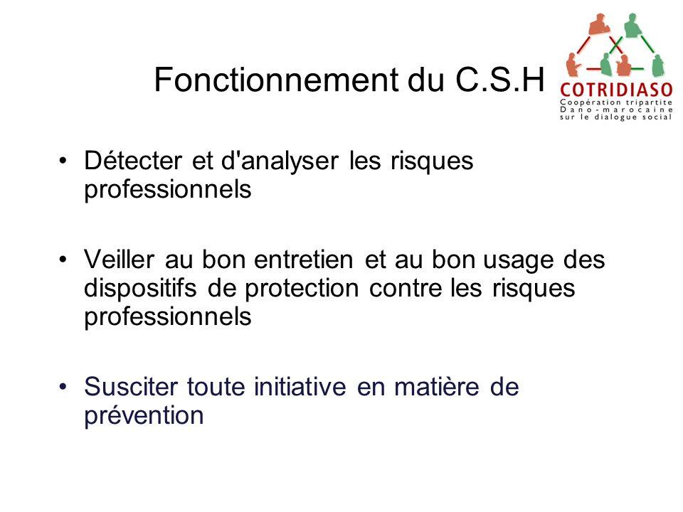 Fonctionnement du C.S.H Détecter et d analyser les risques professionnels.