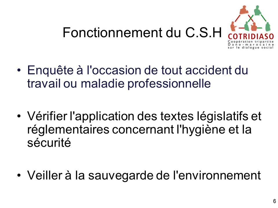 Fonctionnement du C.S.H Enquête à l occasion de tout accident du travail ou maladie professionnelle.