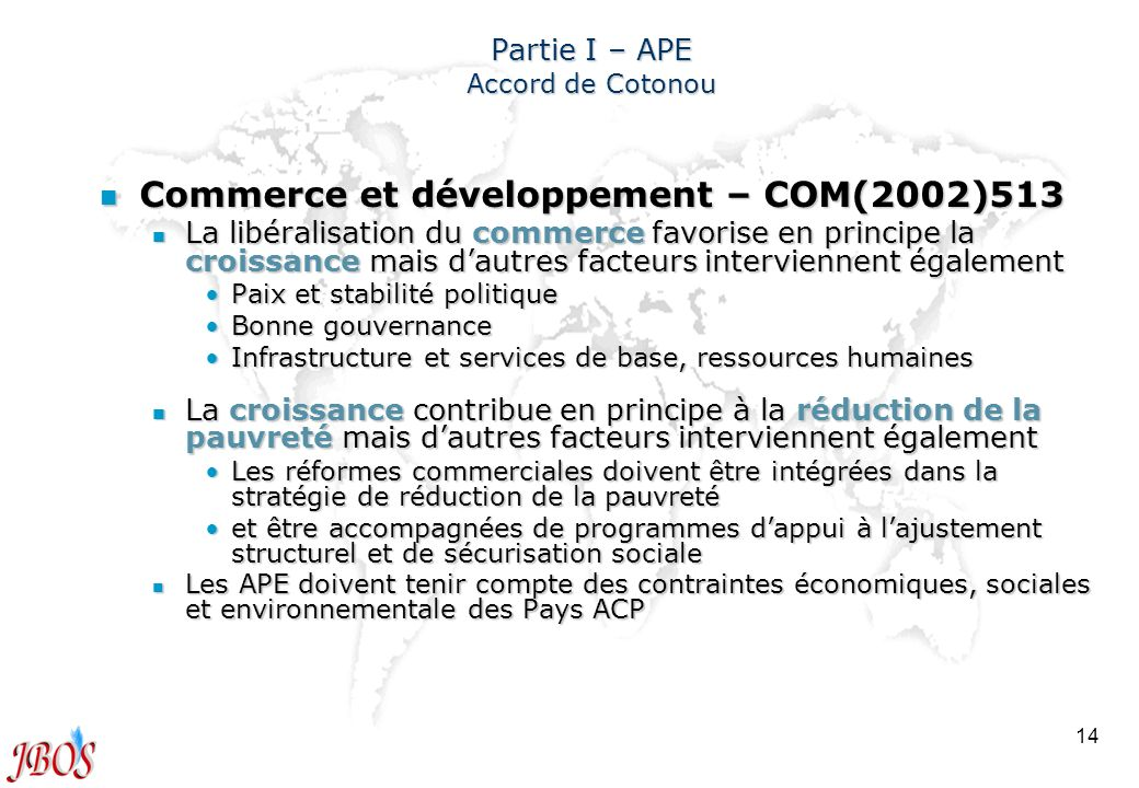 Partie I – APE Accord de Cotonou