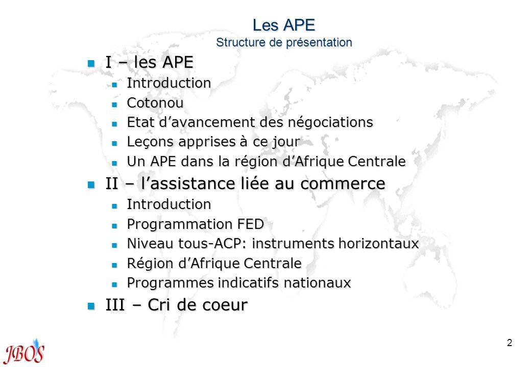 Les APE Structure de présentation
