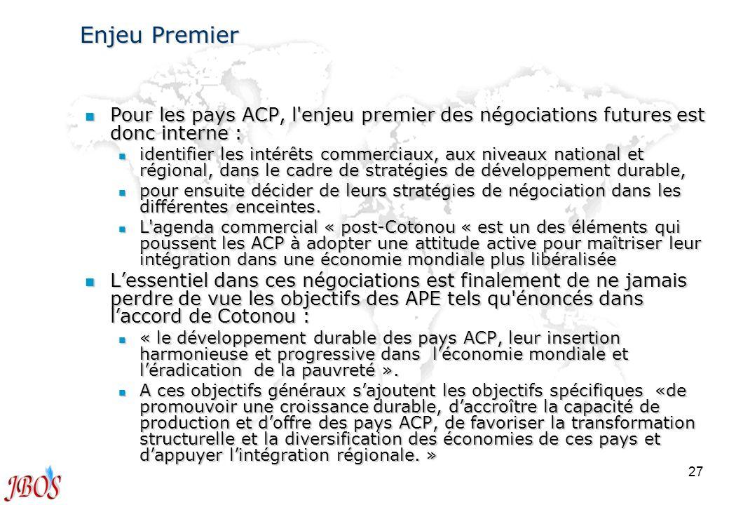 Enjeu Premier Pour les pays ACP, l enjeu premier des négociations futures est donc interne :