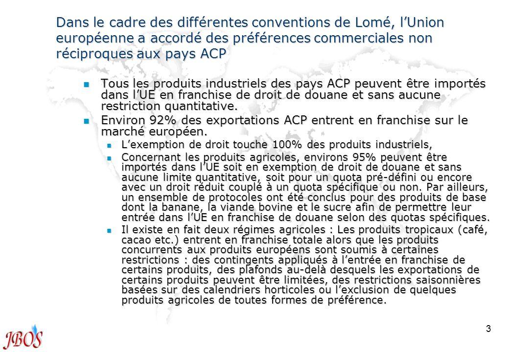 Dans le cadre des différentes conventions de Lomé, l'Union européenne a accordé des préférences commerciales non réciproques aux pays ACP