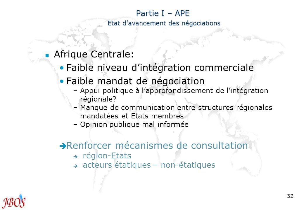 Partie I – APE Etat d'avancement des négociations
