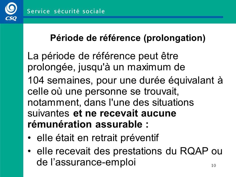 Période de référence (prolongation)