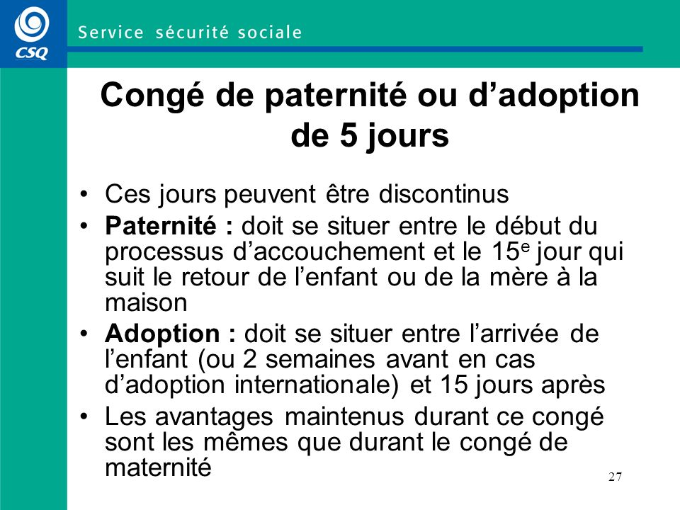 Congé de paternité ou d'adoption de 5 jours