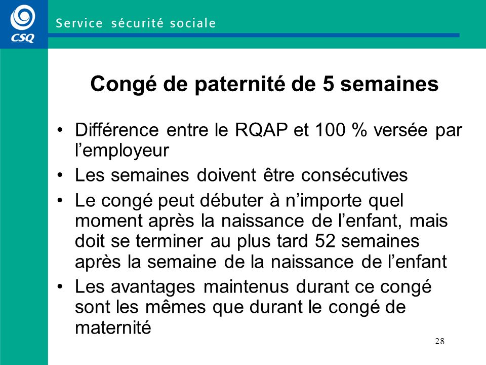 Congé de paternité de 5 semaines