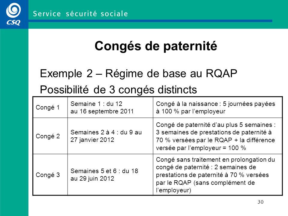 Congés de paternité Exemple 2 – Régime de base au RQAP