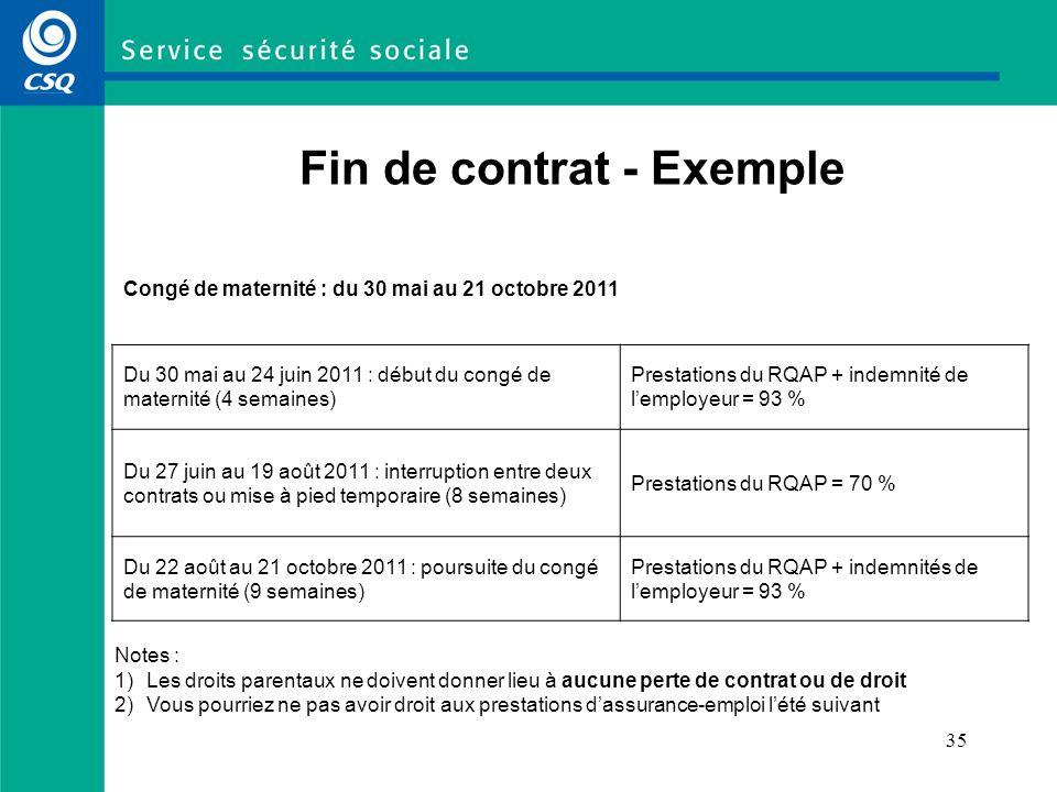 Fin de contrat - Exemple
