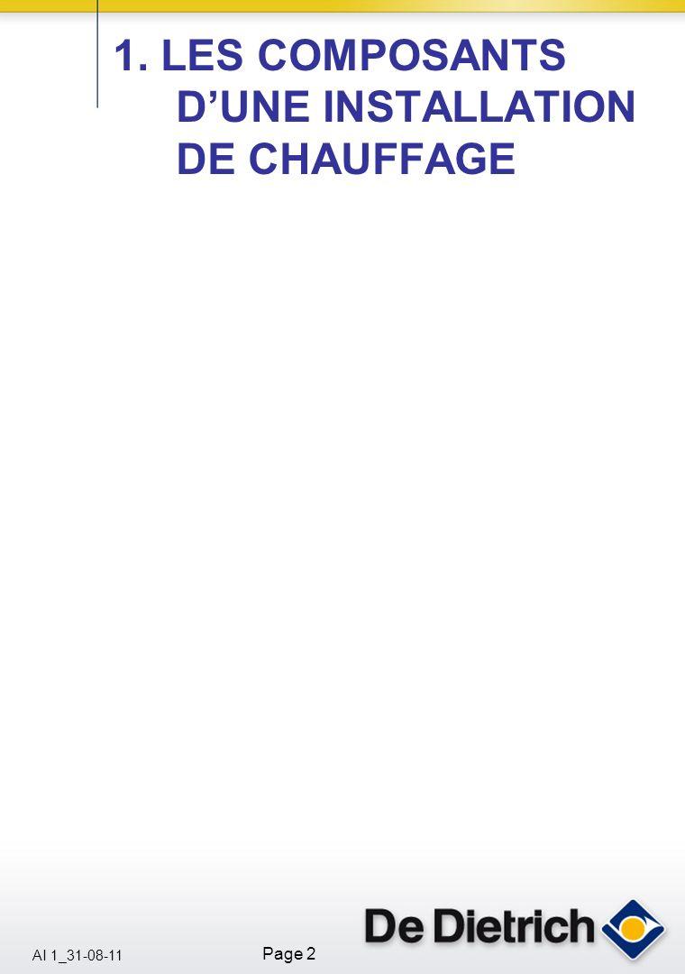 1. LES COMPOSANTS D'UNE INSTALLATION DE CHAUFFAGE