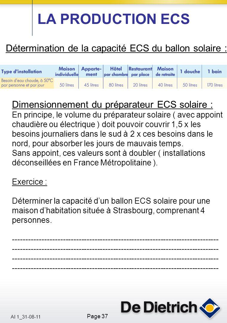 LA PRODUCTION ECS Détermination de la capacité ECS du ballon solaire :