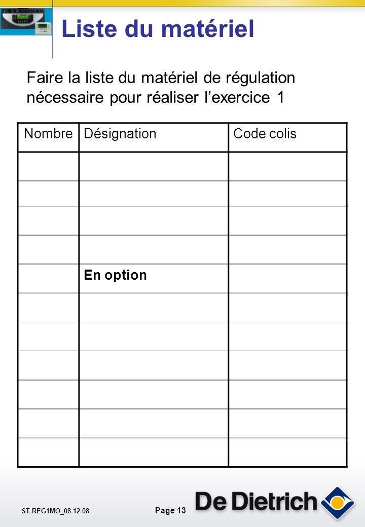 Liste du matériel Faire la liste du matériel de régulation nécessaire pour réaliser l'exercice 1. Nombre.