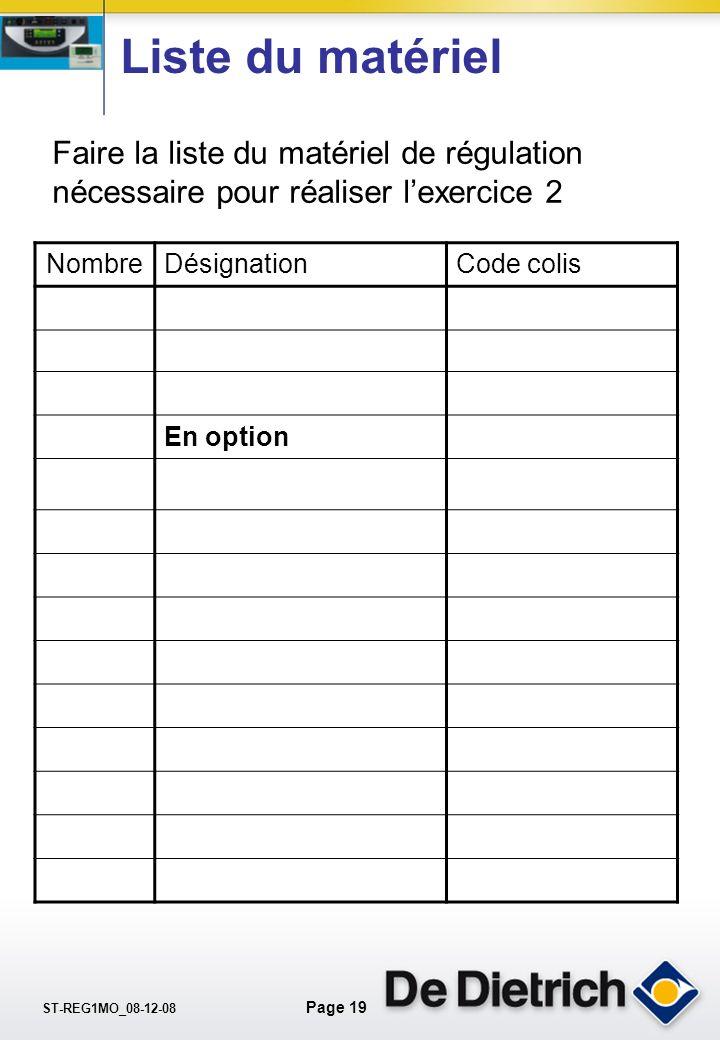 Liste du matériel Faire la liste du matériel de régulation nécessaire pour réaliser l'exercice 2. Nombre.