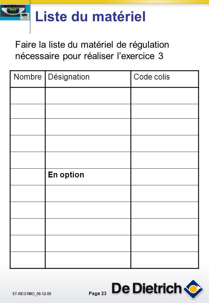 Liste du matériel Faire la liste du matériel de régulation nécessaire pour réaliser l'exercice 3. Nombre.