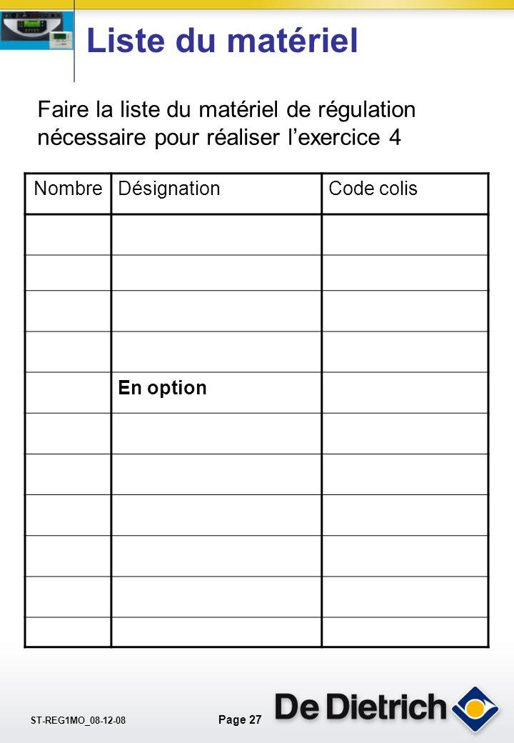 Liste du matériel Faire la liste du matériel de régulation nécessaire pour réaliser l'exercice 4. Nombre.