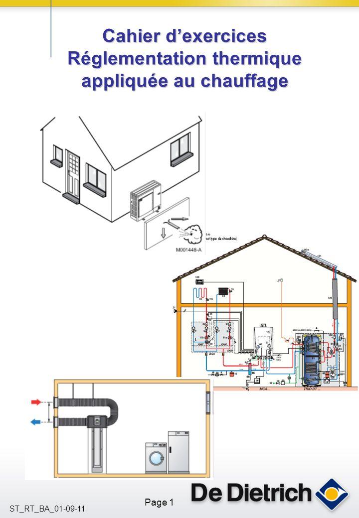 Cahier d'exercices Réglementation thermique appliquée au chauffage