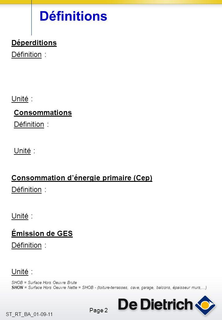 Définitions Déperditions Définition : Unité : Consommations