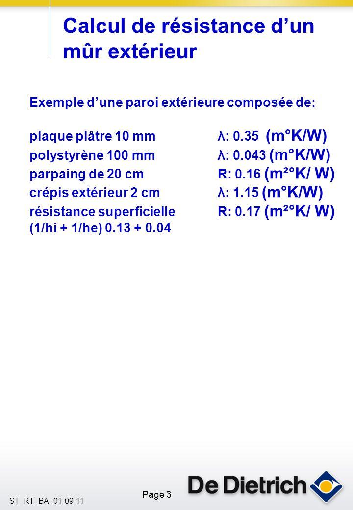 Calcul de résistance d'un mûr extérieur