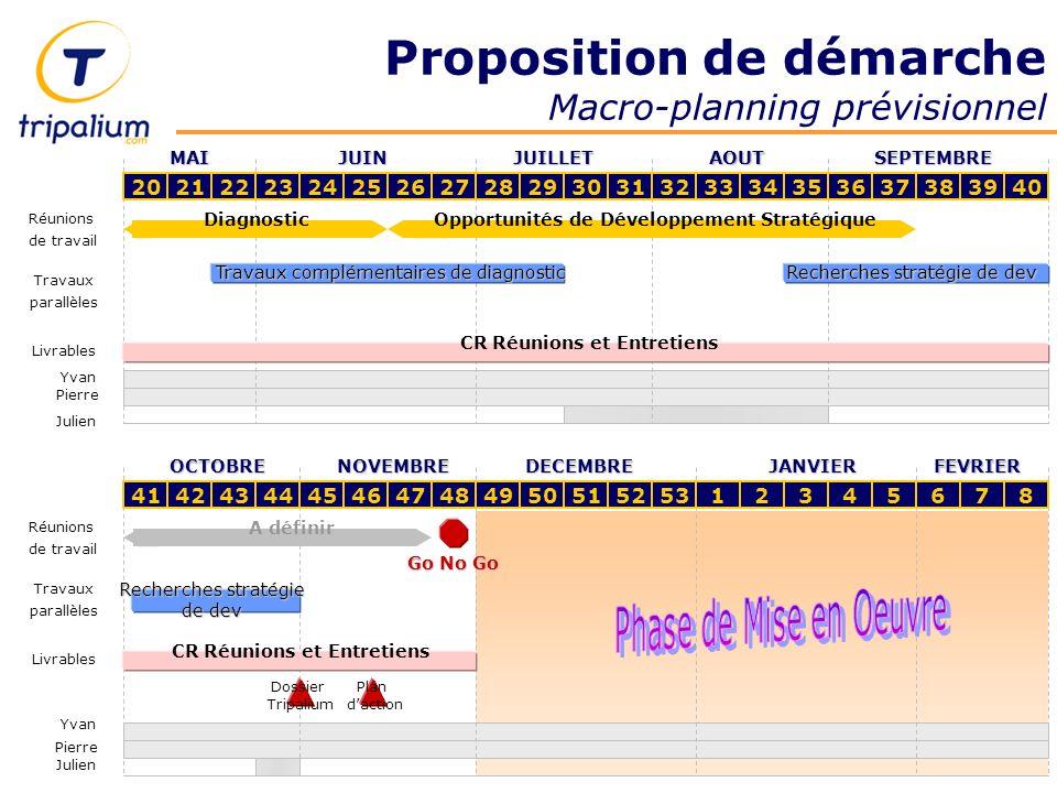 Proposition de démarche Macro-planning prévisionnel