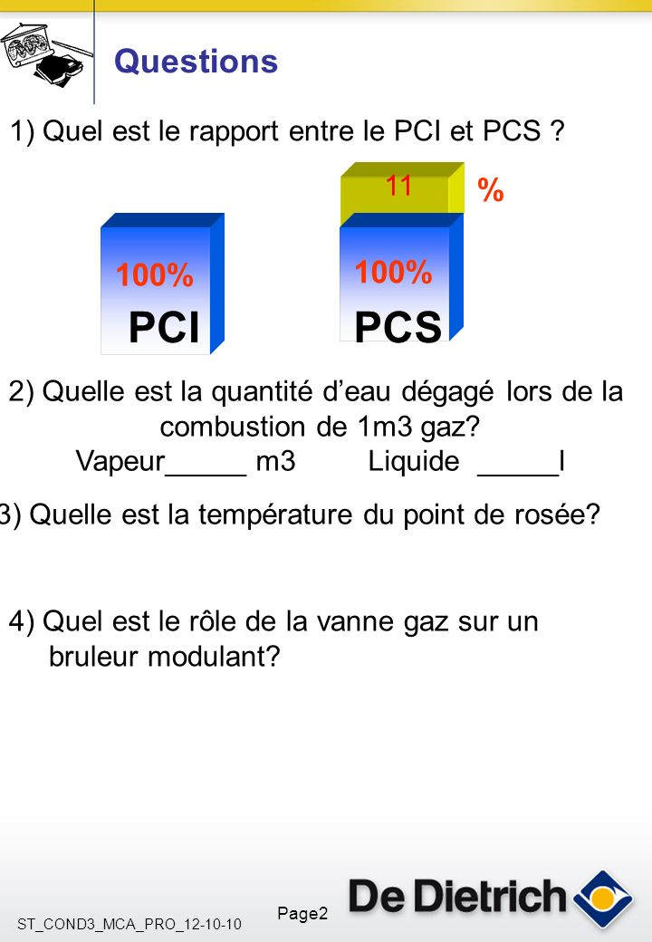 Questions 1) Quel est le rapport entre le PCI et PCS 11. % 100% 100% PCI. PCS. 2) Quelle est la quantité d'eau dégagé lors de la.