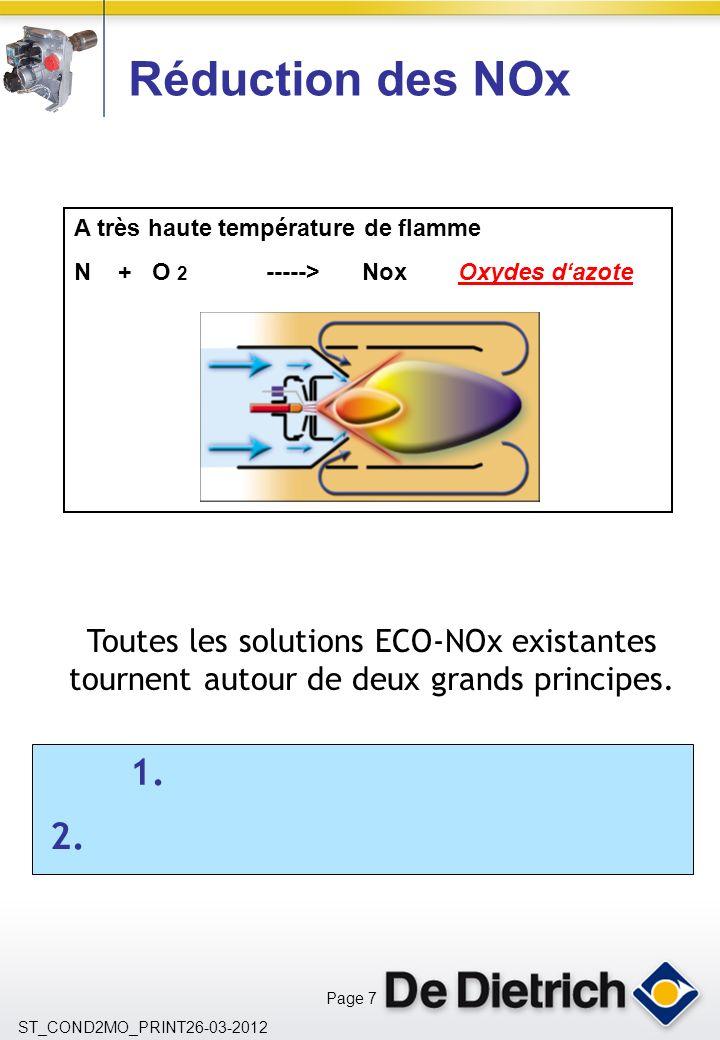 Réduction des NOx A très haute température de flamme. N + O 2 -----> Nox Oxydes d'azote.