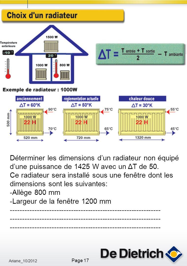 Déterminer les dimensions d'un radiateur non équipé