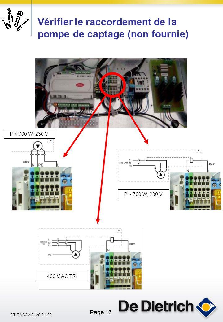 Vérifier le raccordement de la pompe de captage (non fournie)