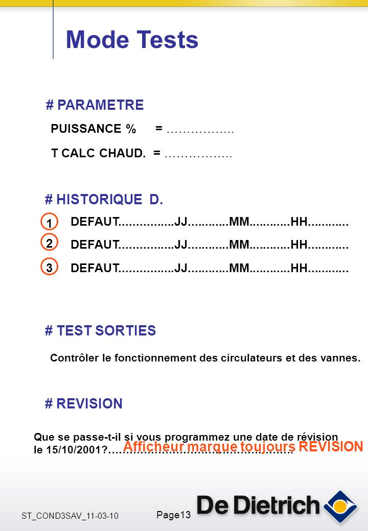 Mode Tests # PARAMETRE # HISTORIQUE D. # TEST SORTIES # REVISION