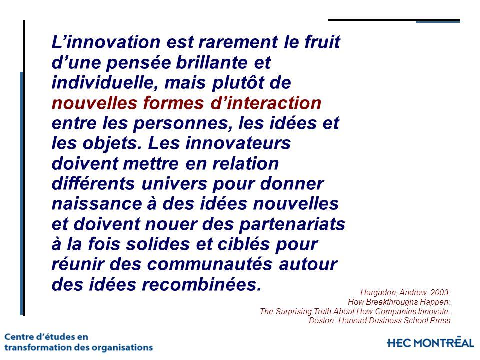 L'innovation est rarement le fruit d'une pensée brillante et individuelle, mais plutôt de nouvelles formes d'interaction entre les personnes, les idées et les objets. Les innovateurs doivent mettre en relation différents univers pour donner naissance à des idées nouvelles et doivent nouer des partenariats à la fois solides et ciblés pour réunir des communautés autour des idées recombinées.