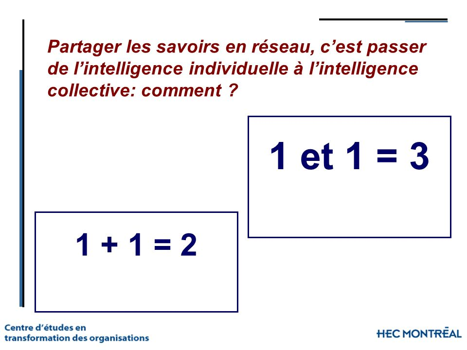 Partager les savoirs en réseau, c'est passer de l'intelligence individuelle à l'intelligence collective: comment