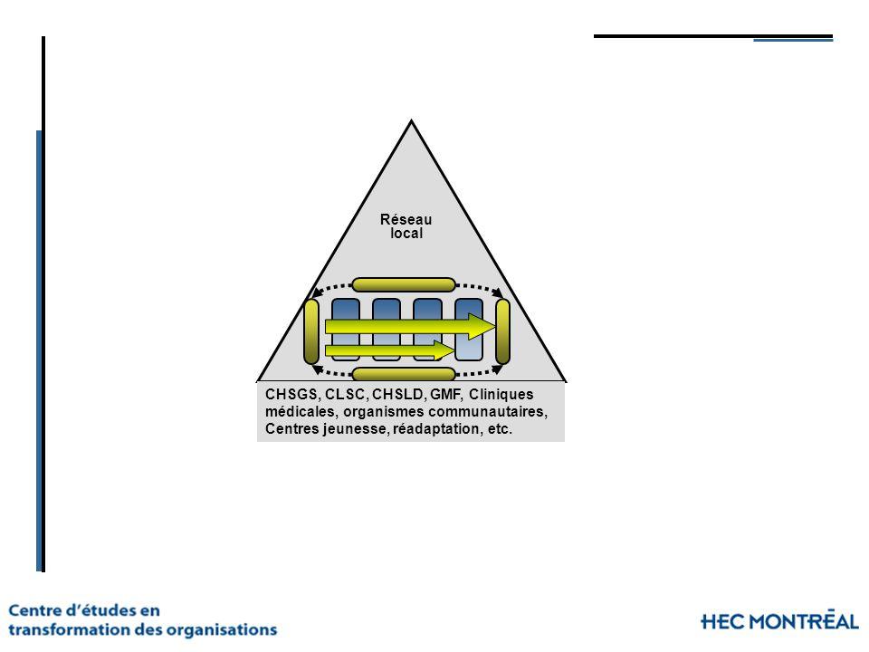 Réseau local CHSGS, CLSC, CHSLD, GMF, Cliniques médicales, organismes communautaires, Centres jeunesse, réadaptation, etc.