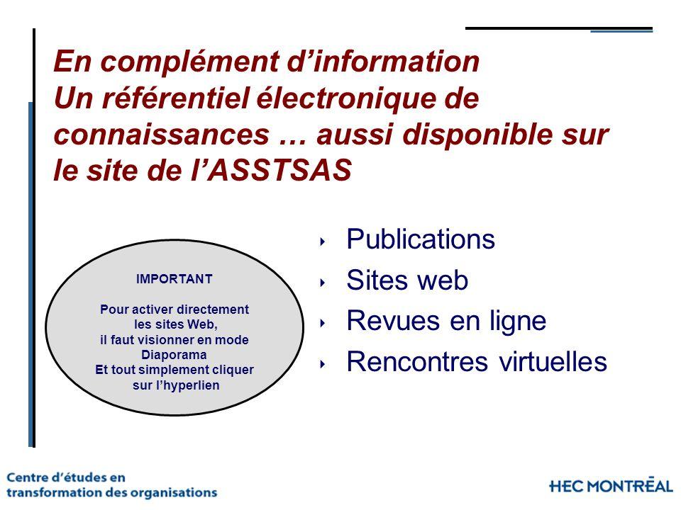 En complément d'information Un référentiel électronique de connaissances … aussi disponible sur le site de l'ASSTSAS