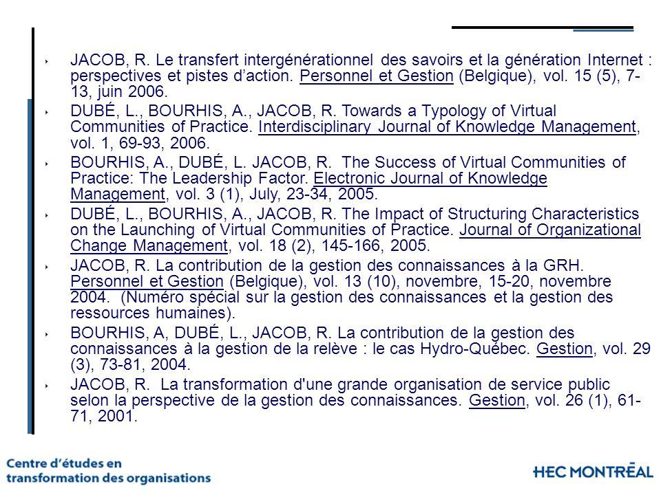 JACOB, R. Le transfert intergénérationnel des savoirs et la génération Internet : perspectives et pistes d'action. Personnel et Gestion (Belgique), vol. 15 (5), 7-13, juin 2006.