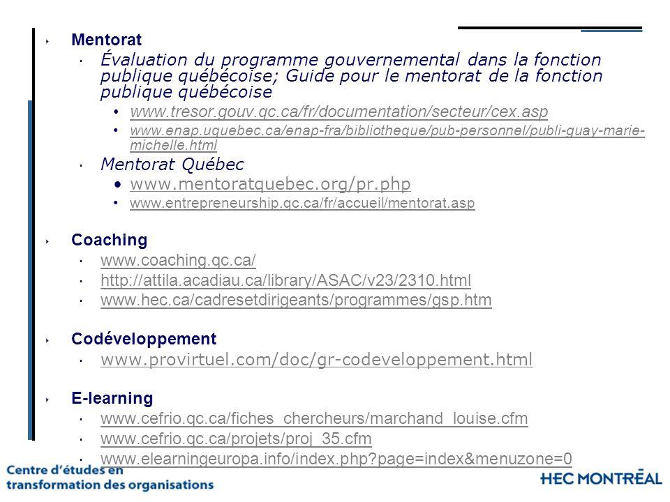 Mentorat Évaluation du programme gouvernemental dans la fonction publique québécoise; Guide pour le mentorat de la fonction publique québécoise.