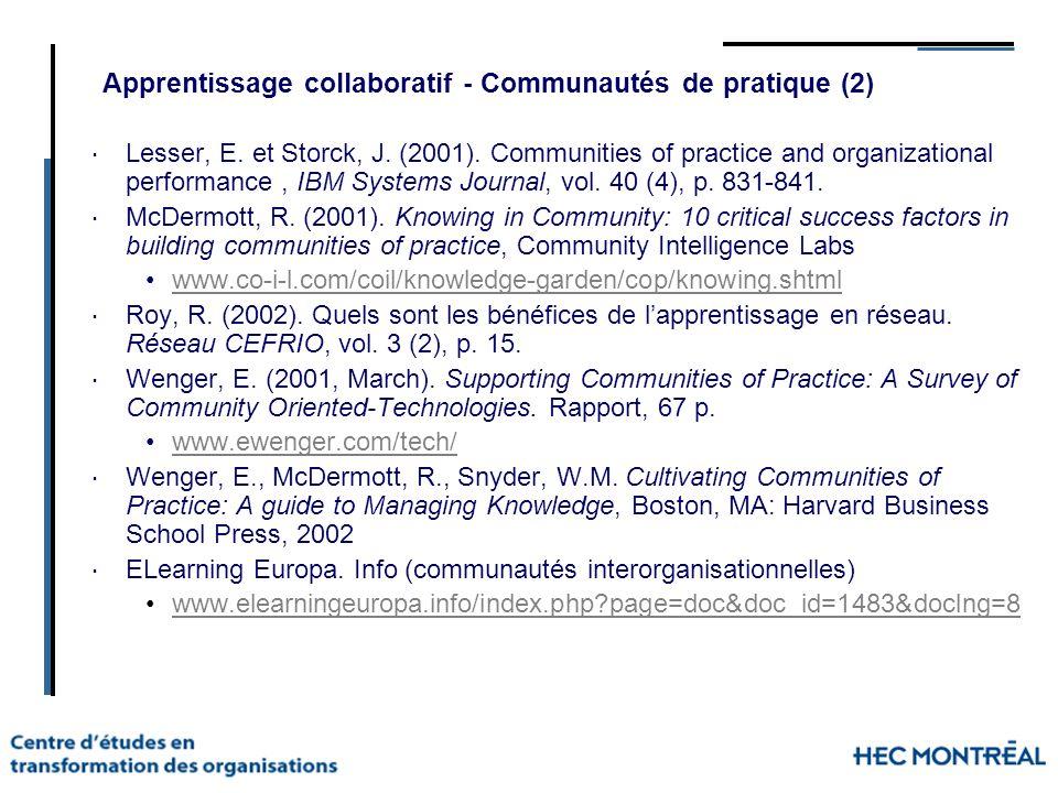 Apprentissage collaboratif - Communautés de pratique (2)