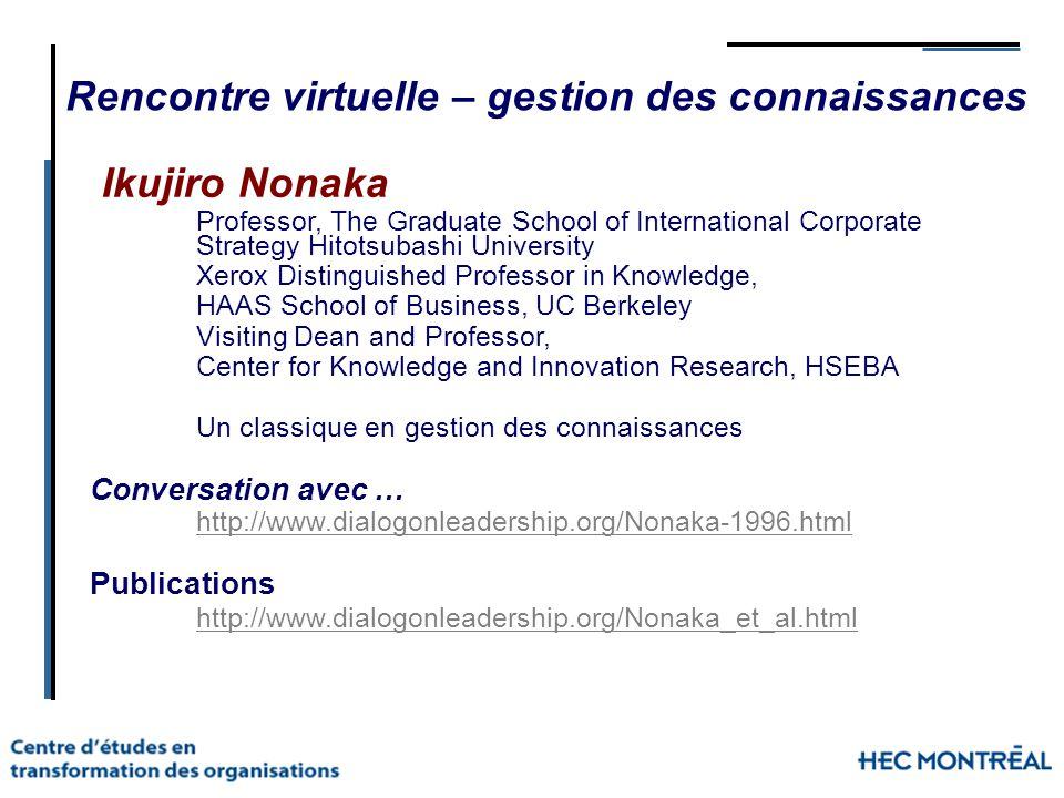 Rencontre virtuelle – gestion des connaissances