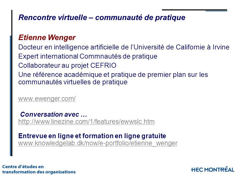 Rencontre virtuelle – communauté de pratique Etienne Wenger