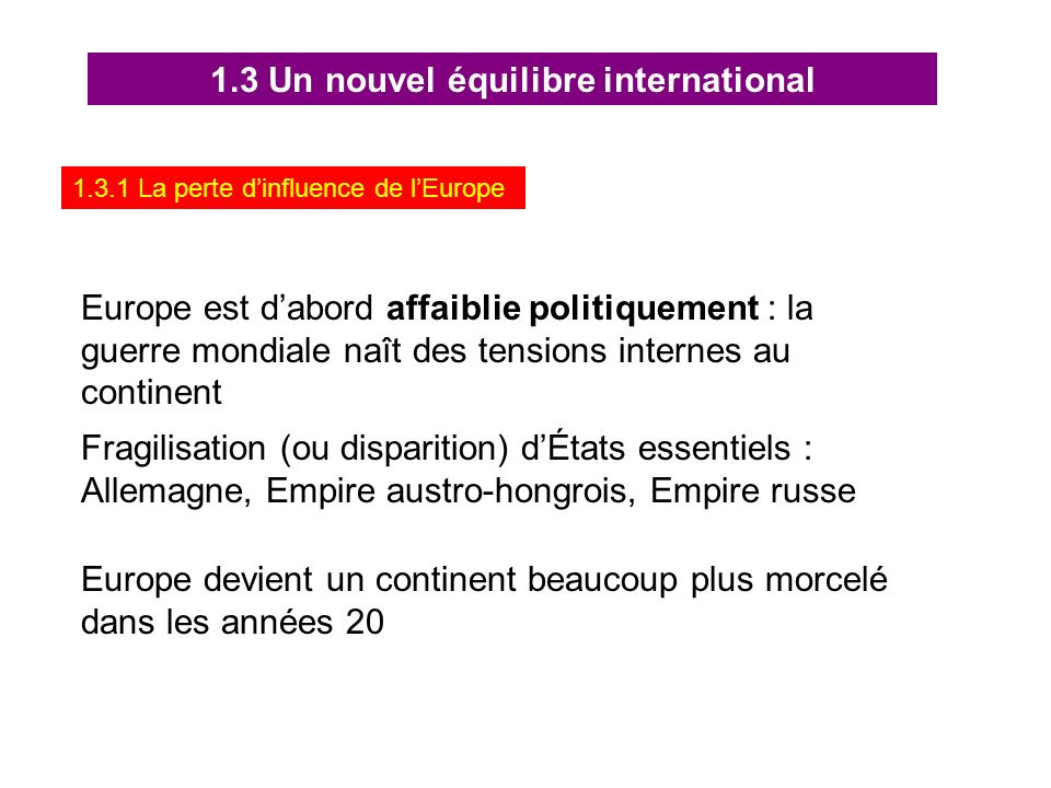 1.3 Un nouvel équilibre international