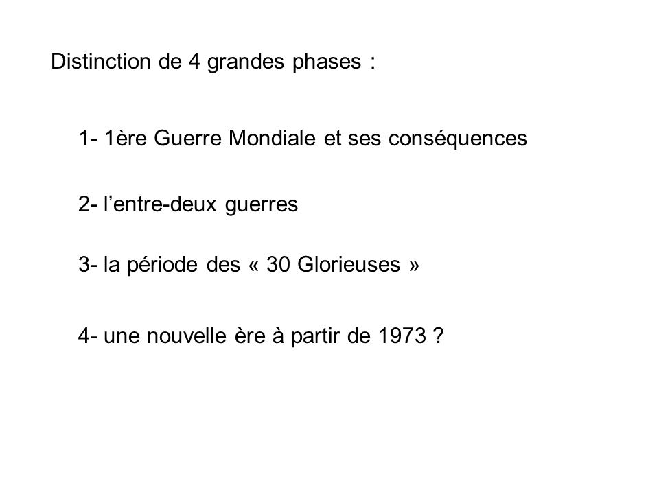 Distinction de 4 grandes phases :