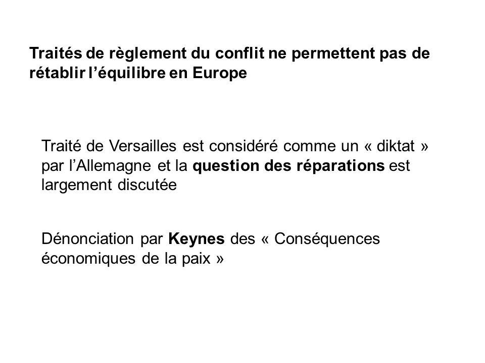 Traités de règlement du conflit ne permettent pas de rétablir l'équilibre en Europe