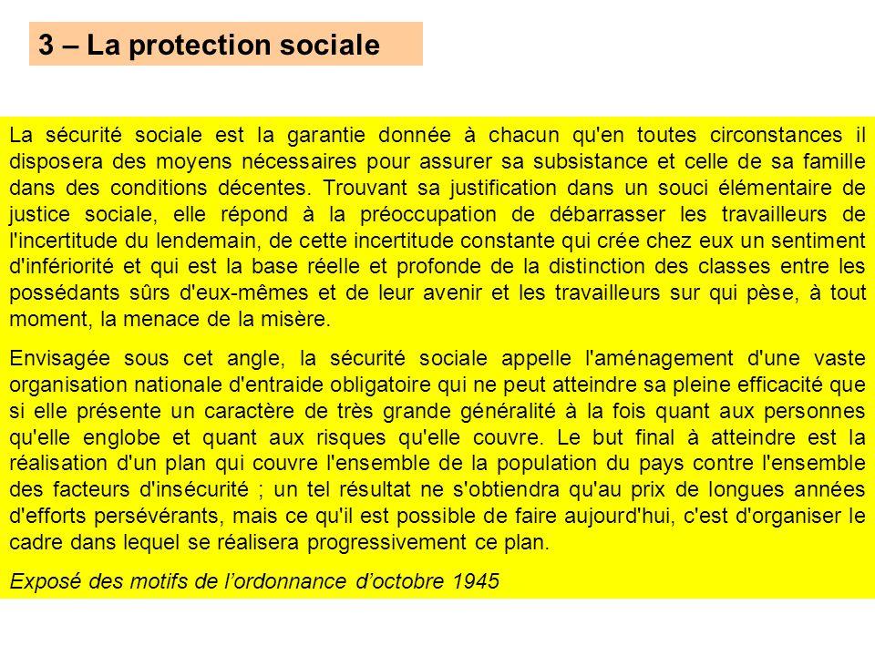 3 – La protection sociale