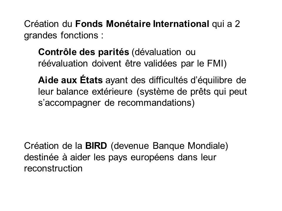 Création du Fonds Monétaire International qui a 2 grandes fonctions :