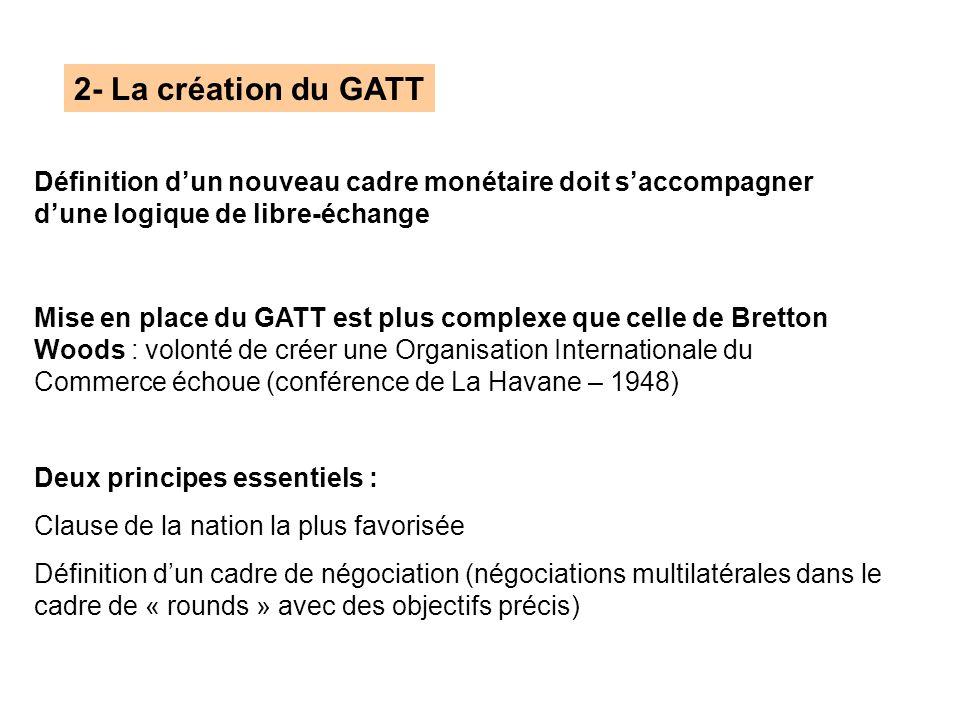 2- La création du GATT Définition d'un nouveau cadre monétaire doit s'accompagner d'une logique de libre-échange.