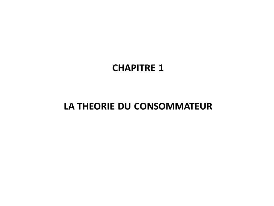 LA THEORIE DU CONSOMMATEUR