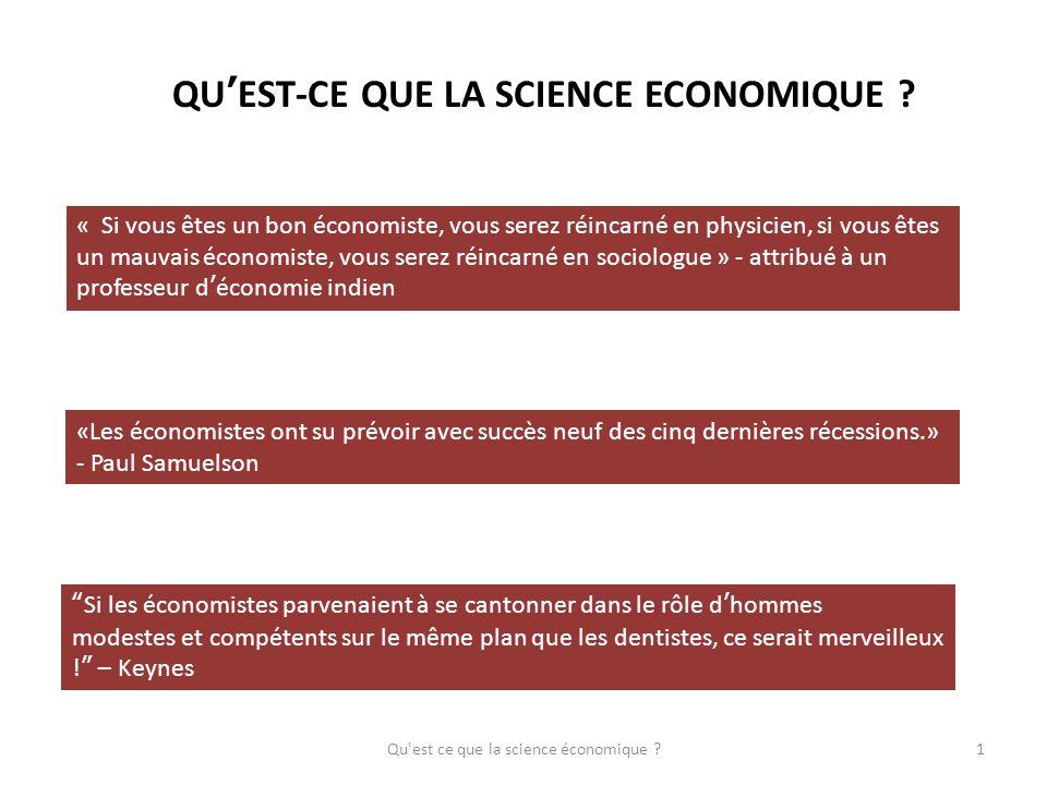 QU'EST-CE QUE LA SCIENCE ECONOMIQUE