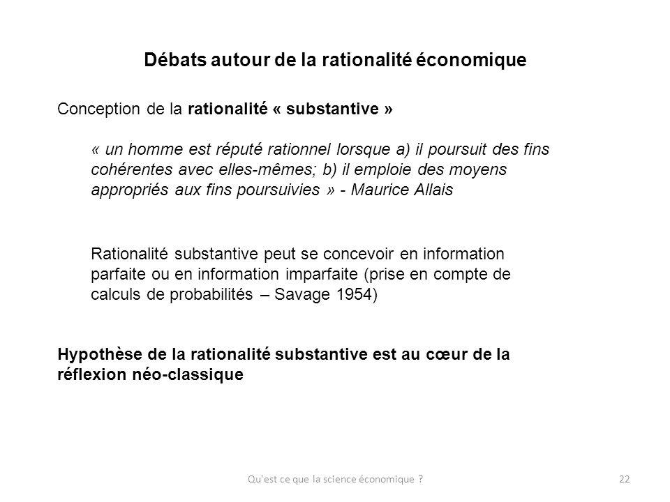 Débats autour de la rationalité économique