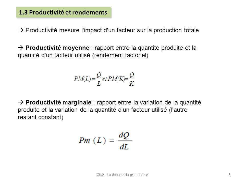 Ch.2 - La théorie du producteur